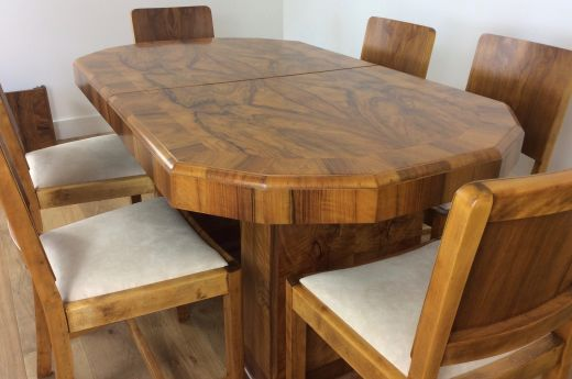 SOLD Art Deco Dining Table And Chairs ART DECO DINING TABLE AND SIX CHAIRS Item